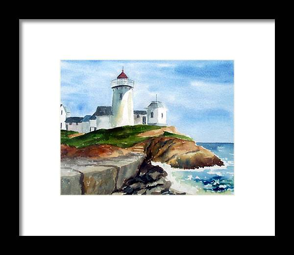 Landscape Framed Print featuring the print Eastern Point Light by Anne Trotter Hodge