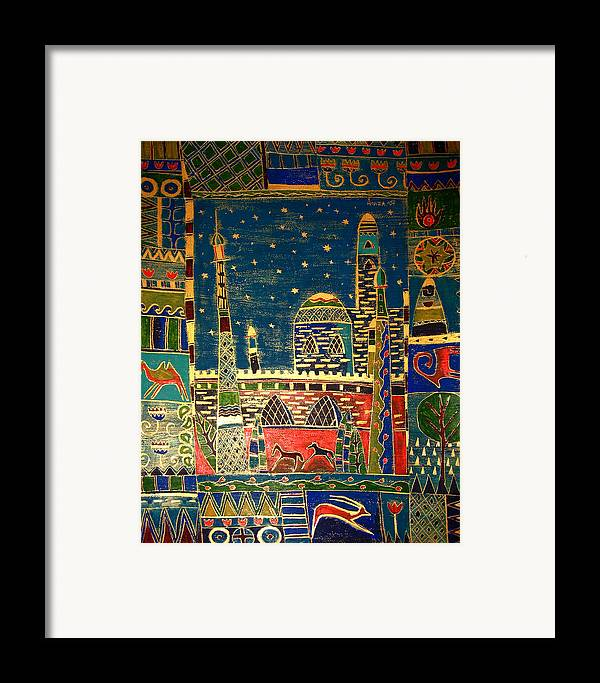 Night Framed Print featuring the painting Eastern Stars by Aliza Souleyeva-Alexander