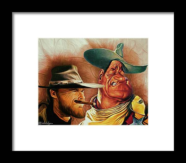 Men Framed Print featuring the digital art Eastwood And Wayne by Rick Wiles