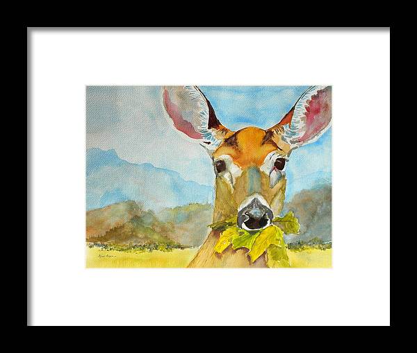 White Tail Deer Framed Print featuring the painting Eat Your Greens by Kris Dixon