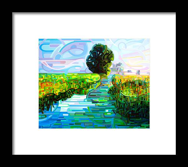Abstract Framed Print featuring the painting Ebb and Flow by Mandy Budan