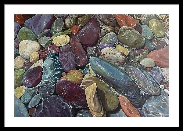 Stones Framed Print featuring the painting Ebb Tide by Hunter Jay