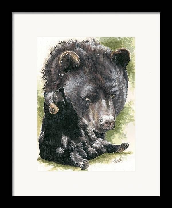 Black Bear Framed Print featuring the mixed media Ebony by Barbara Keith