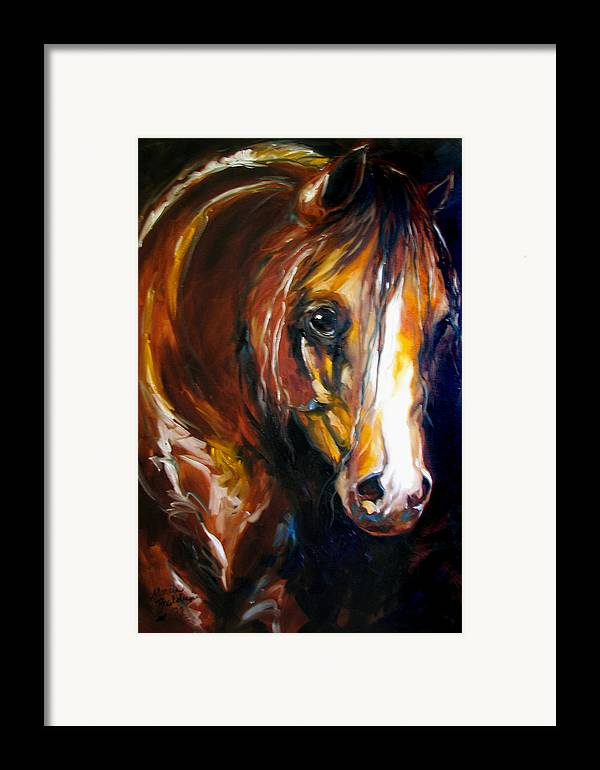 Horse Framed Print featuring the painting Ebony Night Equine by Marcia Baldwin