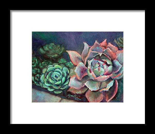 Plant Framed Print featuring the painting Echeveria by Athena Mantle