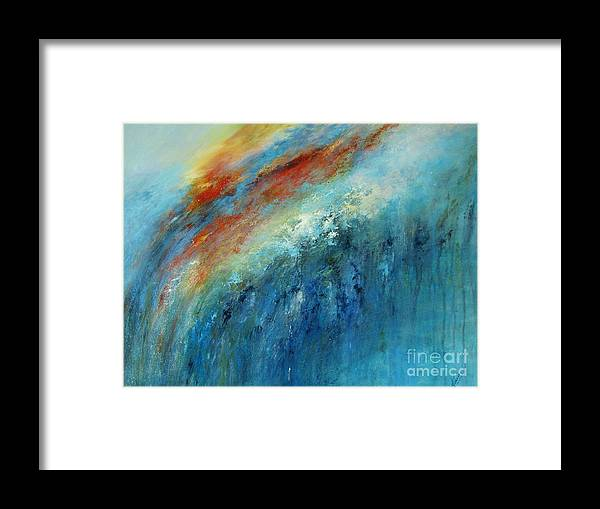 Abstract Framed Print featuring the painting Echoes Of Sunset by Valerie Travers
