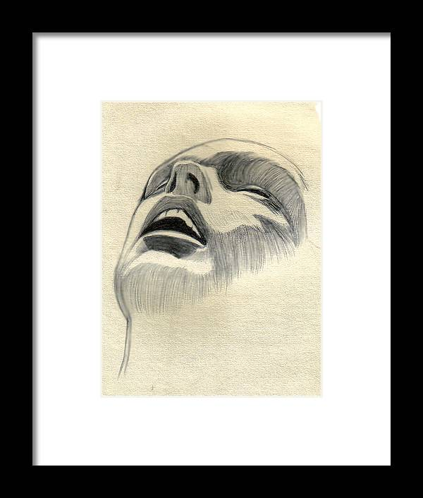 Drawing Framed Print featuring the drawing Meditating by Marco Morales