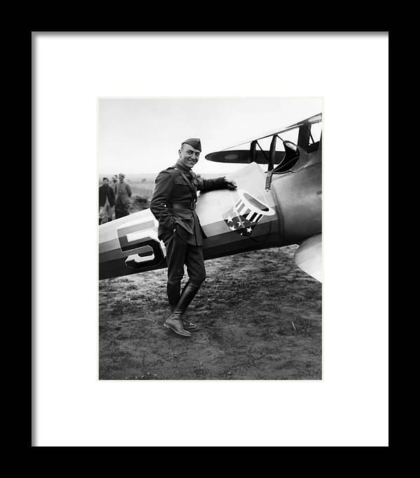 Eddie Rickenbacker Framed Print featuring the photograph Eddie Rickenbacker - Ww1 American Air Ace by War Is Hell Store
