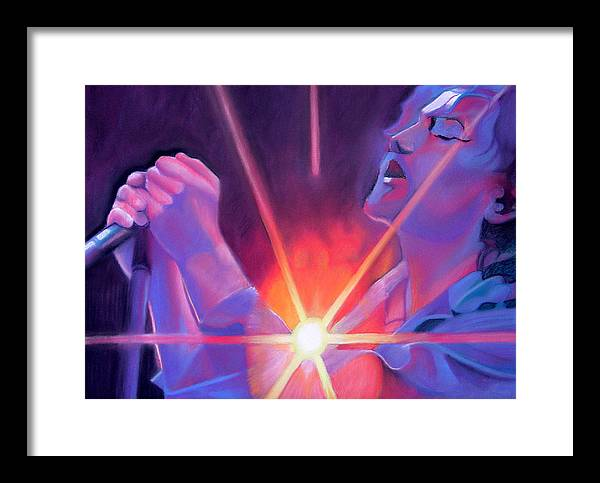 Eddie Vedder Framed Print featuring the drawing Eddie Vedder And Lights by Joshua Morton