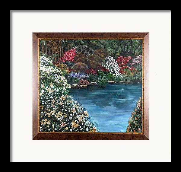 Landscape.water Framed Print featuring the painting Eden by Helene Lagoudakis