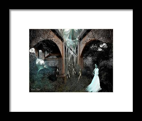 Eden Surreal Creatures Bridges Dreaming Framed Print featuring the digital art Eden by Veronica Jackson