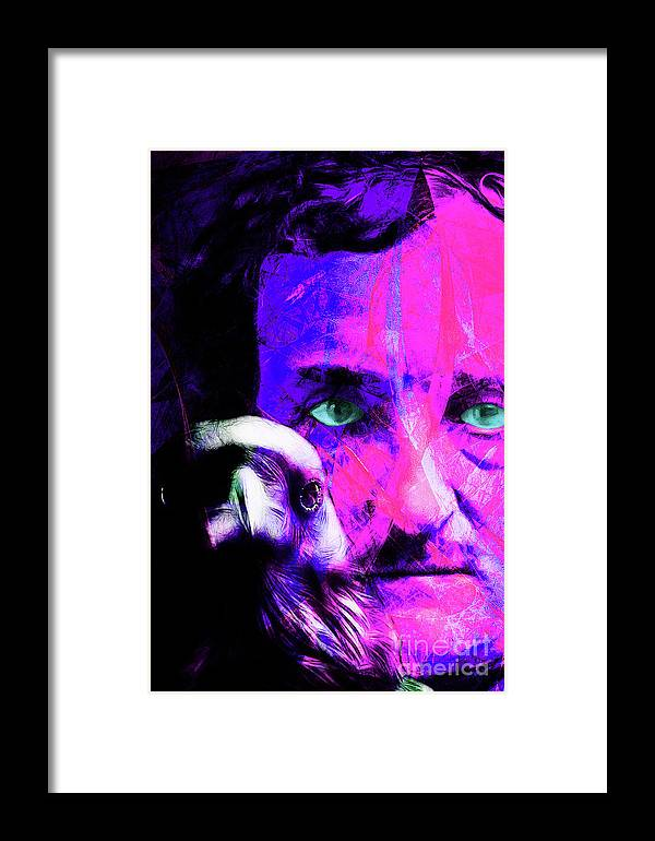 Wingsdomain Framed Print featuring the photograph Edgar Allan Poe The Eyes Of The Ravens 20160430 V3 M88 by Wingsdomain Art and Photography