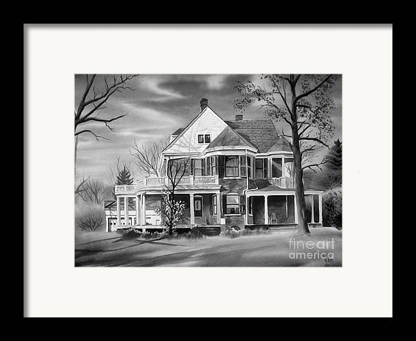 Grayscale Framed Print featuring the painting Edgar Home Bw by Kip DeVore