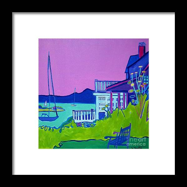 Landscape Framed Print featuring the painting Edgartown Porches by Debra Bretton Robinson