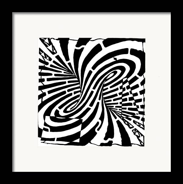 Mobius Framed Print featuring the drawing Edge Of A Mobius Strip Maze by Yonatan Frimer Maze Artist