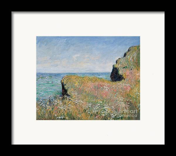 Monet Framed Print featuring the painting Edge Of The Cliff Pourville by Claude Monet