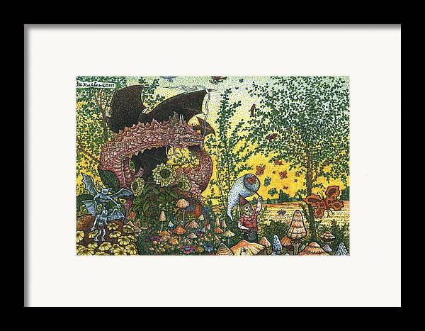 Dragon Framed Print featuring the drawing Edge Of The Fairy Ring by Bill Perkins