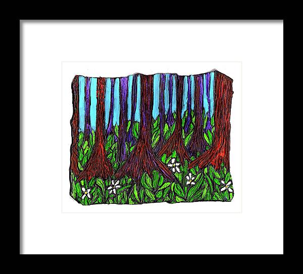 Trees Framed Print featuring the painting Edge Of The Swamp by Wayne Potrafka