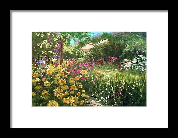 Flowers Framed Print featuring the painting Edie's Garden by Suzaine Smith