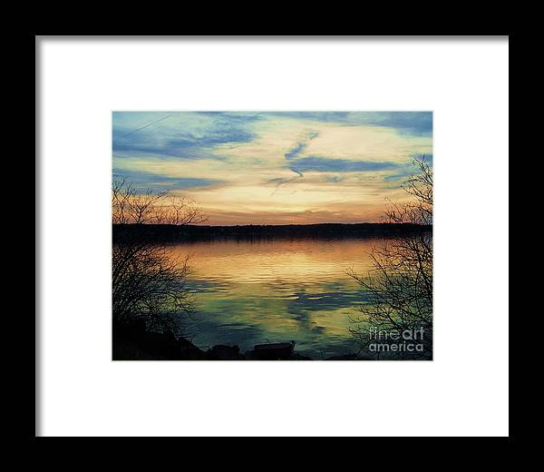 Nocturne Framed Print featuring the photograph Edinboro Lake Nocturne No.3 by Sara Adams