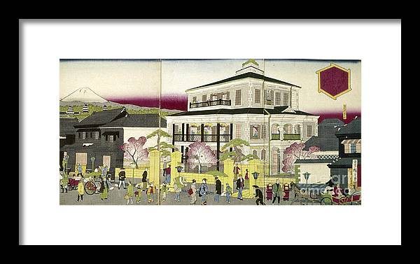 1873 Framed Print featuring the photograph Edo: Bank, C1873 by Granger