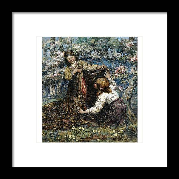 Girl Framed Print featuring the painting Edward Atkinson Hornel 1864 - 1933 The Butterfly Catchers by Edward Atkinson Hornel