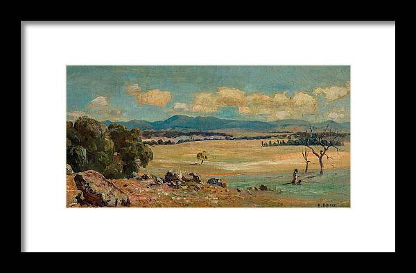 Nature Framed Print featuring the painting Edward Cairns Officer 1871-1921 Landscape by Edward Cairns Officer