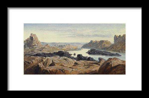 Nature Framed Print featuring the painting Edward Lear 1812 - 1888 British Philae by Edward Lear