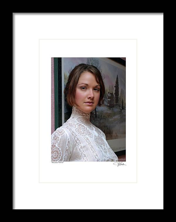 Fine Art Glamour Fashion Framed Print featuring the photograph Edwardian Portrait by JR Harke Photography
