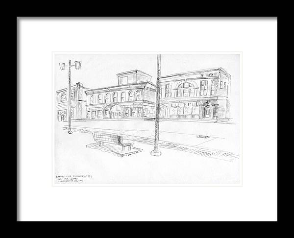 Structure Framed Print featuring the drawing Edwardsville Reconstructed by Joseph A Langley