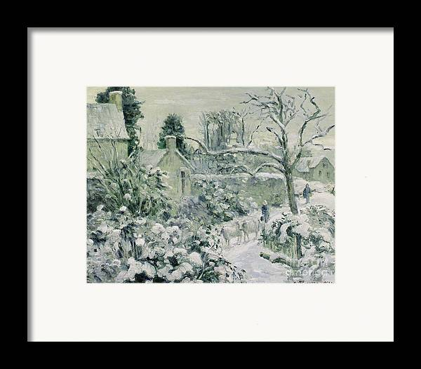 Effect Framed Print featuring the painting Effect Of Snow With Cows At Montfoucault by Camille Pissarro