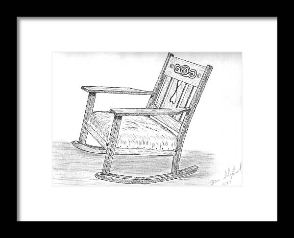 Chair Framed Print featuring the drawing Effie's Chair by Daniel Shuford