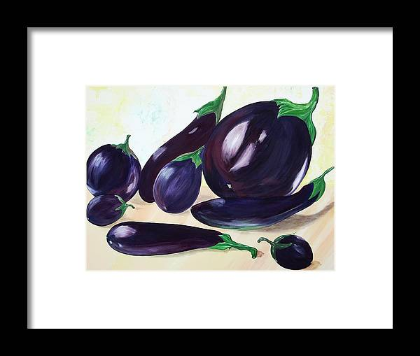 Vegetables Framed Print featuring the painting Eggplants by Murielle Hebert