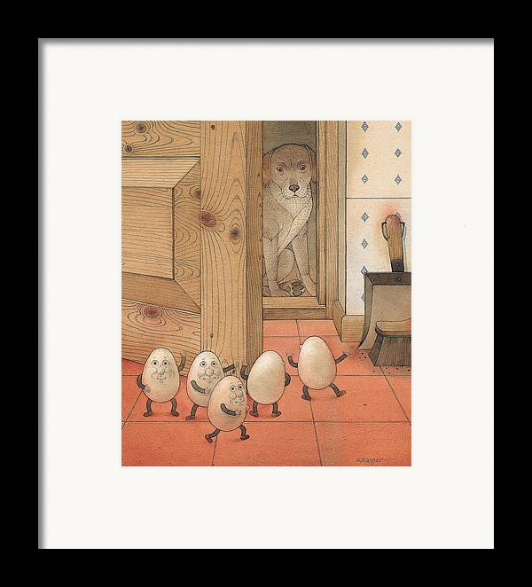 Kitchen Red Brown Dog Eggs Framed Print featuring the painting Eggs And Dog by Kestutis Kasparavicius