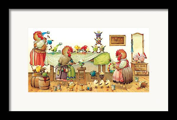 Eggs Easter Framed Print featuring the painting Eggs Dyeing by Kestutis Kasparavicius