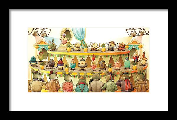 Egs Easter Fashion Voque Show Celebrities Party Framed Print featuring the painting Eggs Fashion by Kestutis Kasparavicius