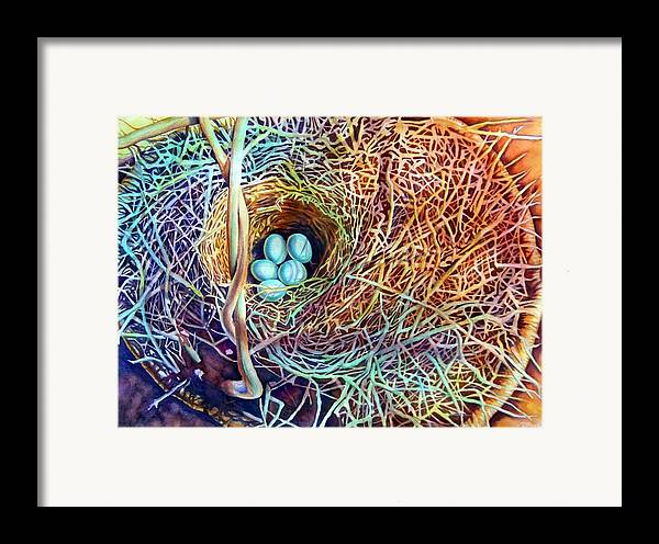 Still Life..birdnest/basket Framed Print featuring the painting Eggs In A Basket by Gail Zavala