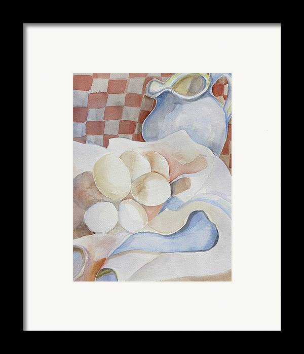 Still Life Framed Print featuring the painting Eggs With Pitcher by Kathy Mitchell