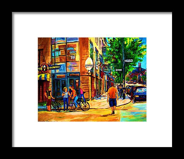 Eggspectation Cafe On Esplanade Framed Print featuring the painting Eggspectation Cafe On Esplanade by Carole Spandau