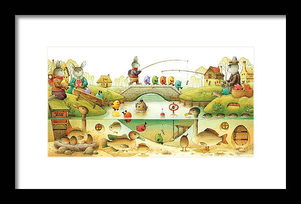 Eggs Easter Rabbit Framed Print featuring the painting Eggstown by Kestutis Kasparavicius