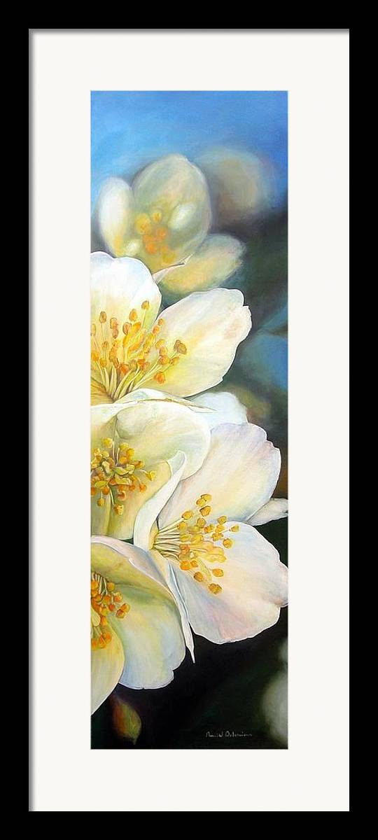 Floral Painting Framed Print featuring the painting Eglantine by Muriel Dolemieux