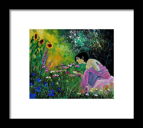Flowers Framed Print featuring the painting Eglantine With Flowers by Pol Ledent