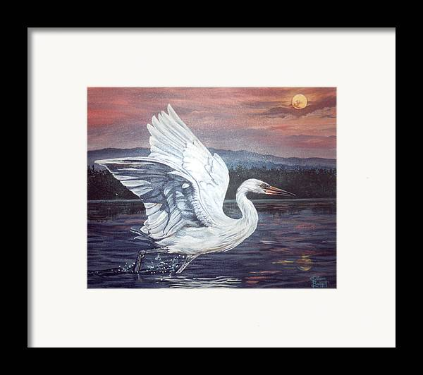 Bird Framed Print featuring the painting Egret by Diann Baggett
