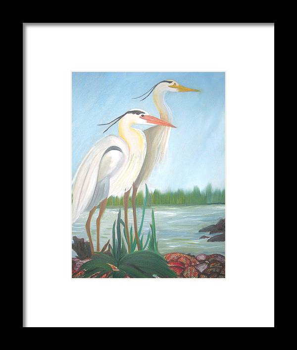 Animals Framed Print featuring the painting Egrets by AVK Arts