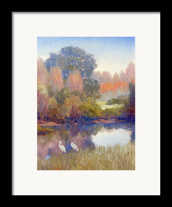 Egrets Framed Print featuring the painting Egrets by Kevin Lawrence Leveque