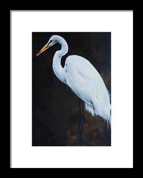 Bird Framed Print featuring the painting Egrets Series Four by Cynthia Satton