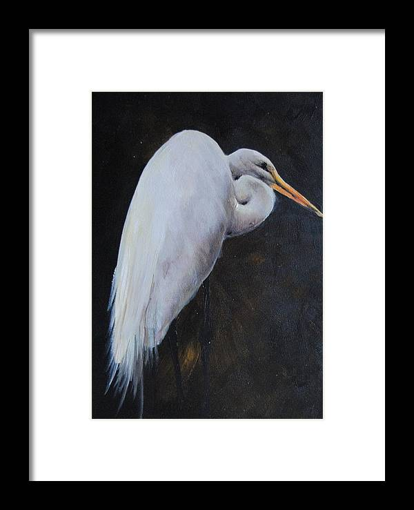 Bird Framed Print featuring the painting Egrets Series Three by Cynthia Satton