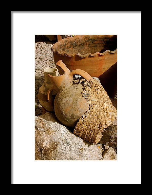 Egypt Framed Print featuring the photograph Egypt Bedouin Pots by Yvonne Ayoub