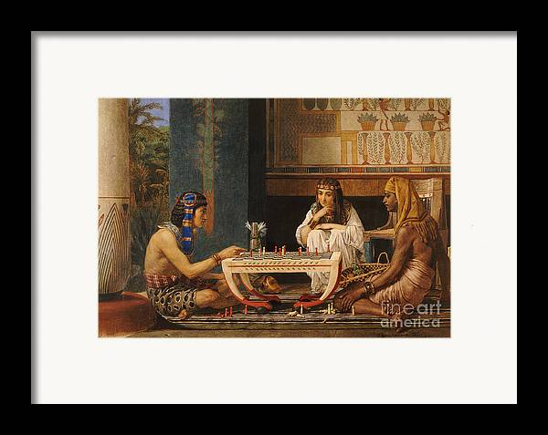 Egyptian Chess Players Framed Print featuring the painting Egyptian Chess Players by Sir Lawrence Alma-Tadema