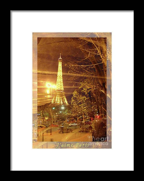 Paris Framed Print featuring the photograph Eiffel Tower By Bus Tour Greeting Card Poster by Felipe Adan Lerma